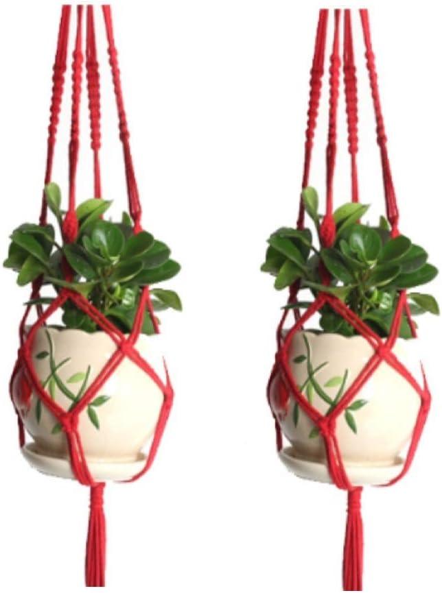 Red LovHome Colorful Cotton Plant Hanger 2 Pack Indoor Outdoor Hanging Planter Basket Rope