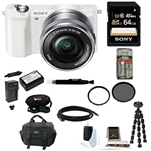 Sony ILCE5000LW ILCE-5000LW ILCE500L/W Alpha A5000 Mirrorless Digital Camera with 16-50mm Lens (White) + Sony Class 10 64GB Memory Card + All in One High Speed Card Reader + Focus Deluxe SLR Soft Shell Camera Gadget Bag + Wasabi Power Battery for Sony NP-FW50 + Adobe Photoshop Lightroom 5 + Deluxe Accessory Kit