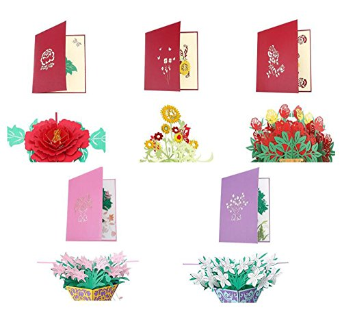 Handmade Blank Note Card - JM-capricorns 5 Mixed Flower Handmade Greeting Card with Envelopes, Flower Pop up 3D Cards,Mother's Day Thanksgiving Birthday Christmas Valentine's Day
