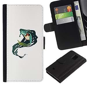 iBinBang / Flip Funda de Cuero Case Cover - Mermaid Green Nature Fairy Drawing Art - Samsung Galaxy S5 Mini, SM-G800, NOT S5 REGULAR!