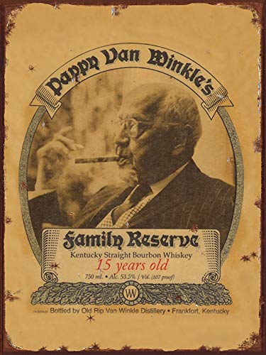 (Pappy Van Winkle's whiskey vintage ad reproduction steel sign bar decor)