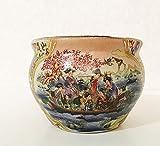 FUYUAN 4 inch Wide Satsuma Geisha Girl Design Fish Bowl Planter Pot