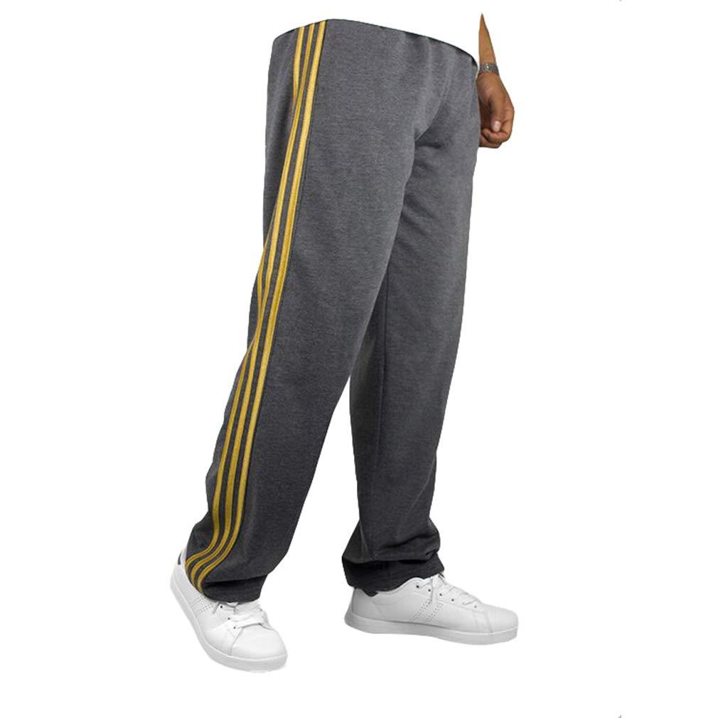 kunfang Hombres Pantalones Deportivos De Cintura Media - Lado Lateral Tres Estampados De Rayas Pantalones Casuales Sueltos con Bolsillo con Cremallera Pantalones Rectos para Aptitud Caminar