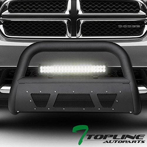 Topline Autopart Matte Black Studded Mesh Bull Bar Brush Push Front Bumper Grill Grille Guard With Skid Plate + 120W CREE LED Fog Light For 11-13 Dodge Durango ; 11-15 Jeep Grand Cherokee