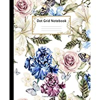Dot Grid Notebook: Dotted Paper Journal: Pretty Flowers Watercolor Illustration for Graphing Pad, Design Book, Work Book…