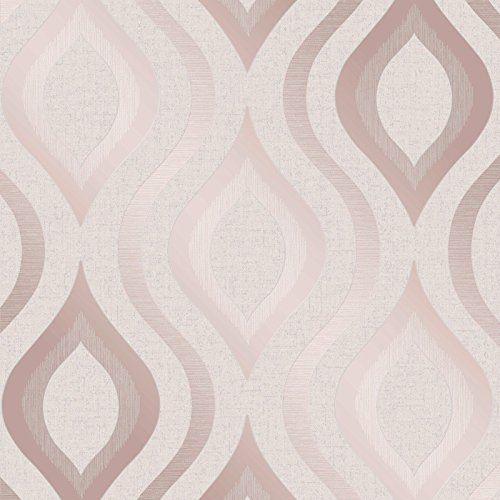 Quartz Geometric Wallpaper Rose Gold Fine Decor FD42206 by Fine Decor