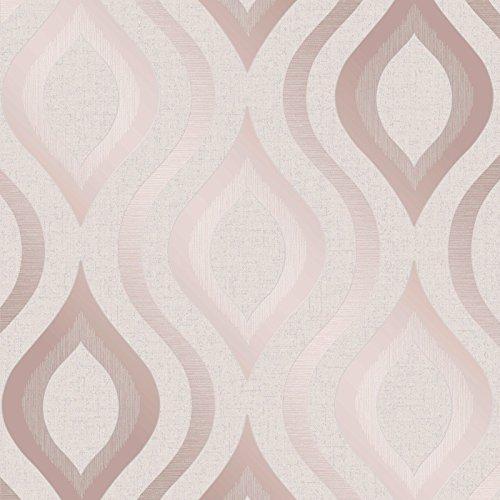 Quartz Geometric Wallpaper Rose Gold Fine Decor FD42206 ()