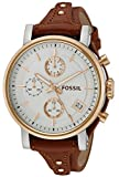 Fossil Women's ES3837 Original Boyfriend Chronograph Leather Watch - Light Brown