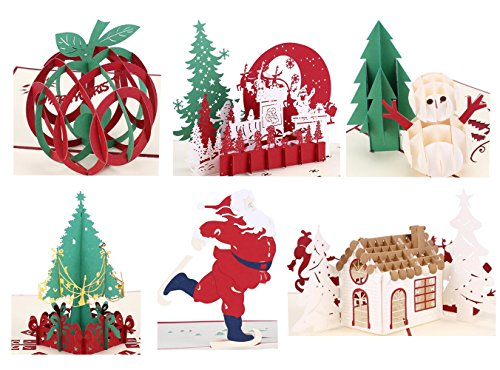 Best Wishes Holiday Card (Christmas Cards 3D Pop Up Handmade Holiday Greeting Cards - 6 Cards &)