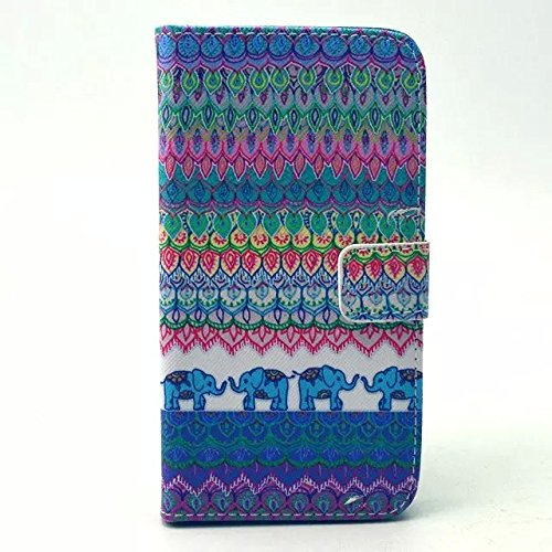 S4 Case, JCmax Premium Elephant Pattern Flip Wallet Case with Stand Function for Samsung Galaxy S4 i9500- Blue