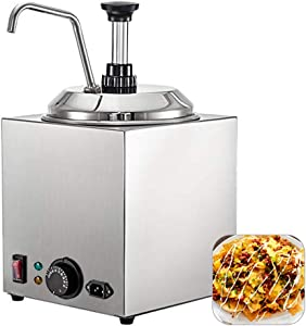 Anbt Commercial Hot Fudge Warmer,Nacho Cheese Sauce Warmer Pump Dispenser,650W Cheese Warmer Stainless Steel for Restaurants,Snack Stations,Cupcake Store