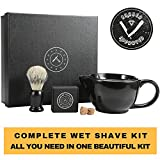 Savanna Shaving Scuttle Mug - Mens Shaving Bowl Set, Create Rich Shaving Cream Warmer, Keep Your Lather Hot Shaving Mug, Brush & Soap Included. Handmade Pottery ~ Your Face Will Sing, Shave Like King