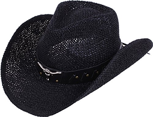 - Verabella Classic Western Cowgirl Cowboy Straw Sun Hat for Themed Party,Black