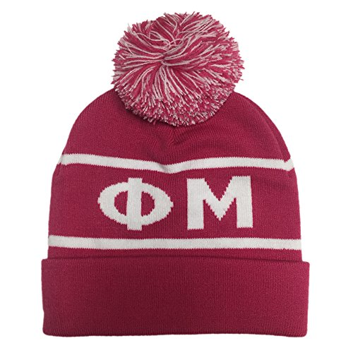 Greek Sorority Merchandise (Phi Mu Sorority Letter Winter Beanie Hat Greek Cold Weather Winter)