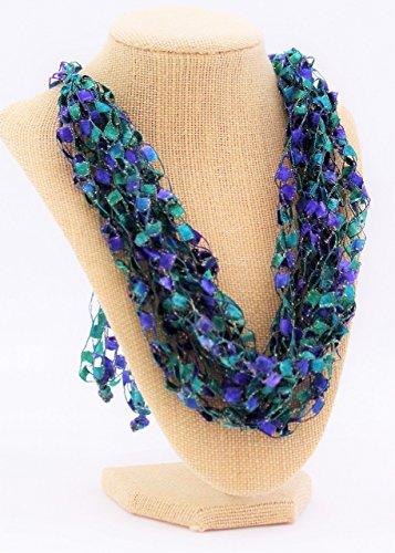 CROCHETLACES Adjustable LIGHTWEIGHT Handmade Soft Fabric Crochet Yarn Necklace Scarf- Sea Maiden from Crochetlaces