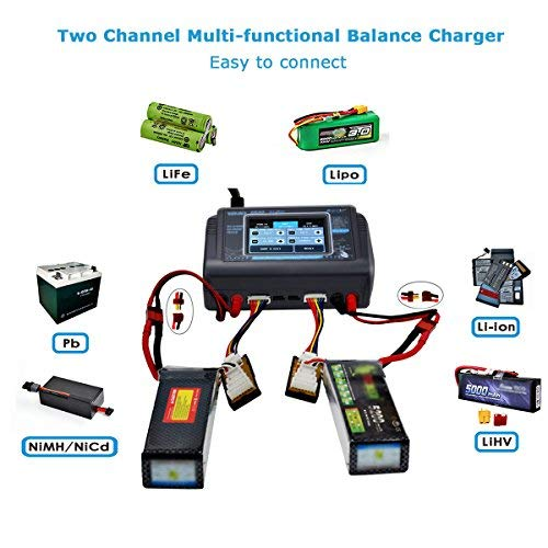 Charger Lipo Battery Balance Touch Screen Duo Discharger Dual Ac150w DC240W 10A T240 1-6S Li-ion Life NiCd NiMH LiHV PB Smart Battery (B)
