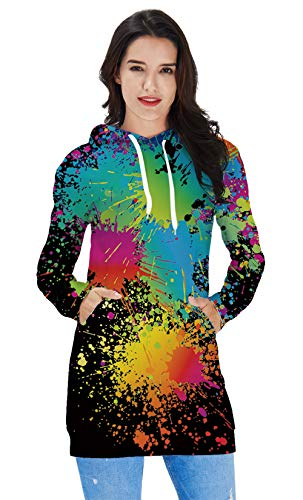 (Girls Hoodie Sweater Dress Pullover Long Sleeve Cowl Neck Tunic Slim Fitted Women Sweatshirts Casual Stylish Home Wear Green Red Blue Tie-Dyed Paint Fancy Sportswear Solid Midi One-piece Skirt)