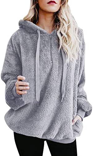 Women's Sherpa Pullover Fuzzy Fleece Sweatshirt Oversized Hoodie Warm Fluffy Winter Top Ladies Hooded Jumper