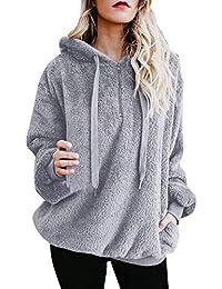 Women's Warm Long Sleeves Pullover Sweatshirts Winter Fluffy Hoodie Top Elegant Hooded Pullover Jumper Plus Size
