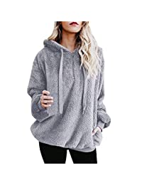 SJLee Clothes Hooded Pullover Women Warm Fluffy Winter Top Hoodie Sweatshirt Ladies Jumper