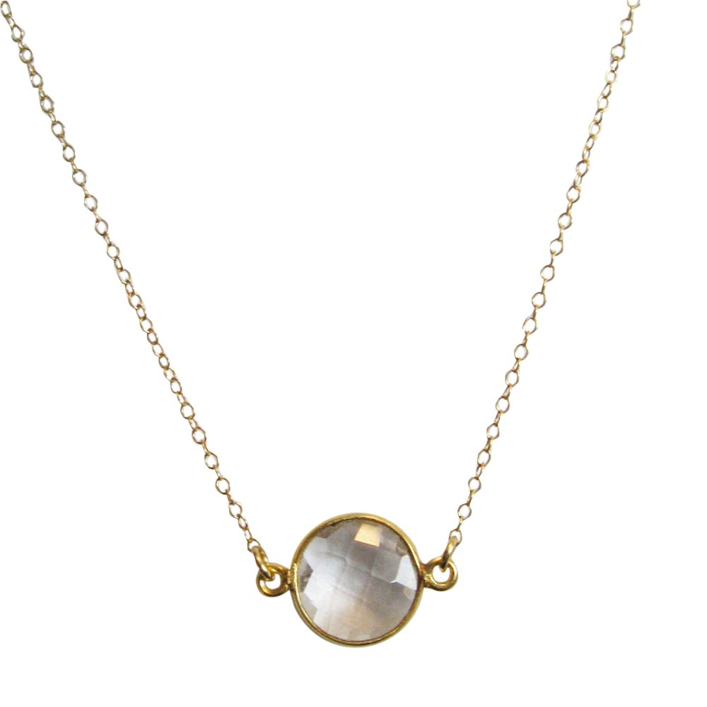 22K Gold plated 925 Sterling Silver Chain Necklace with Crystal Quartz Round Bezel Gemstone Necklace 20