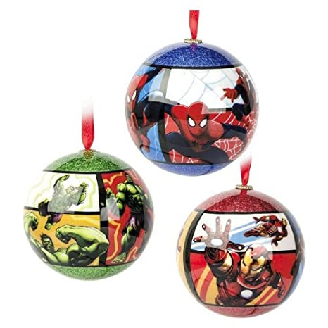 marvel superhero christmas tree shatterproof ornaments includes the incredible hulk iron man and ultimate spider