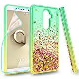 Zingcon Suit for Alcatel 3V Phone Case,Alcatel 5099A Quicksand Glitter Case, with HD Screen Protector,Shockproof Hybrid Hard PC Soft TPU Bling Adorable Shine Protective Cover-Green/Orange
