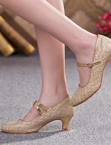ShangYi Women's Dance Shoes Heels Glitter Chunky Heel Gold/Silver/Brown Gold