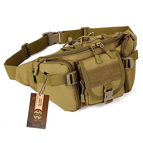Pouch Utility Waist Pack (DYJ Utility Multipurpose Molle Tactical Waist Bag Hip Pack Military Fanny Pack Compact Waterproof Hip Belt Bag Pouch Hiking Climbing Outdoor Bumbag (Coyote Brown))