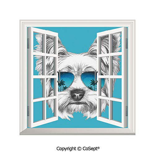 Cardinal Glass Mirror - SCOXIXI Removable Wall Sticker,Yorkshire Terrier Portrait with Cool Mirror Sunglasses Hand Drawn Cute Animal Art,Window Sticker Can Decorate A Room(25.86x22.63 inch)