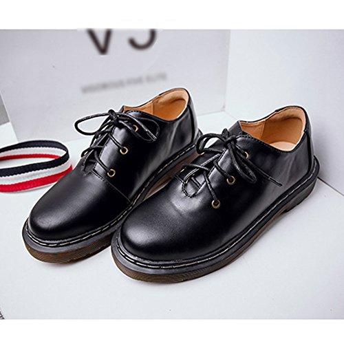 T-juillet Chaussures Vintage Oxfords Femmes - Retro Lacets Talon Bas Bout Rond Chaussures Glacées Noires
