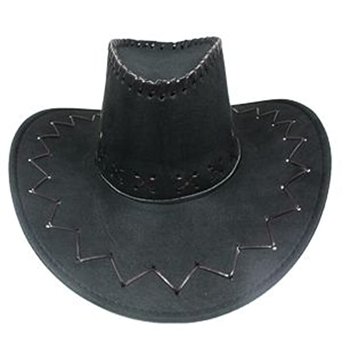 6768a4ad3 SILVERFEVER Mens Womens Cowboy Cowgirl Hat Whipstitched Felt Chin Strap