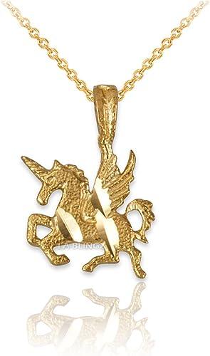 LA BLINGZ 10K Yellow Gold Nugget Initial Letter L Necklace