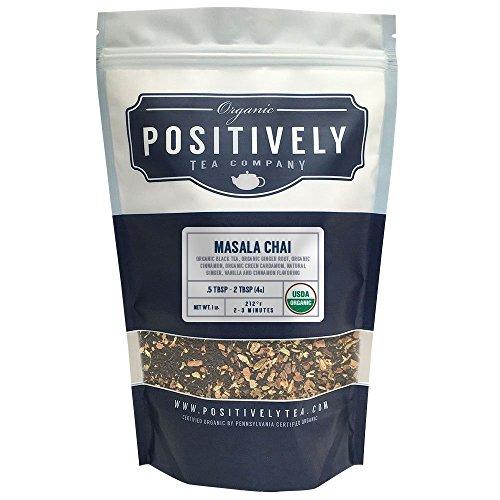 Positively Tea Company, Organic Masala Chai Tea, Black Tea, Loose Leaf, USDA Organic, 1 Pound Bag