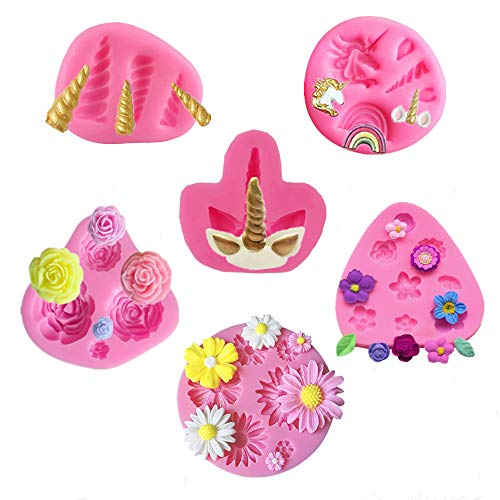 - Mini Unicorn Mold Set,Unicorn Horn Ears Rainbow Flowers Silicone Cake Fondant Mold,Cupcake Toppers Mold for Candy,Chocolate,Fondant,Polymer Clay,Soap,Crafting Projects & Cake Decoration