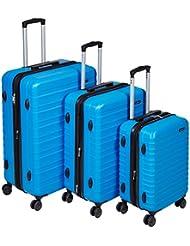 AmazonBasics Hardside Spinner Luggage - 3 Piece Set (20, 24, 28), Light Blue