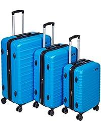 """AmazonBasics Hardside Spinner Luggage - 3 Piece Set (20"""", 24"""", 28""""), Azul Claro"""