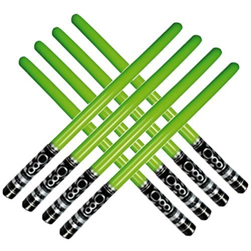 Inflatable Play Light Saber - Great For Star Wars Parties and Favors, Larp, Halloween, Christmas Stocking Stuffers, and More! (8 Pack Of Green)