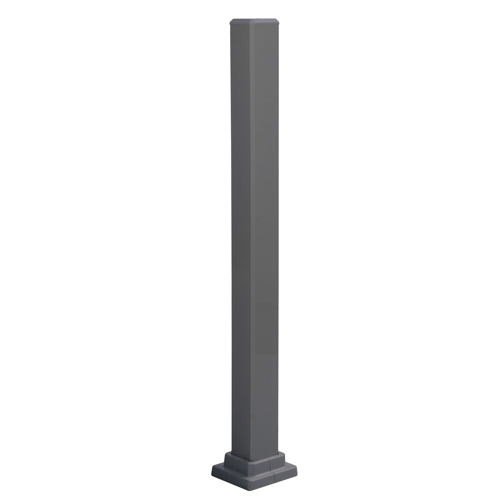 Mounting Post for Promenaid Handrail System, Aluminum, Charcoal Grey, 3''X3'' Tube, 5'' Square Base Flange, 37'' High by PROMENAID