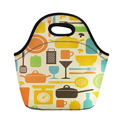 Semtomn Lunch Tote Bag Cooking Pattern Houseware Cook Healthy Cookery Vintage Knife Food Reusable Neoprene Insulated Thermal Outdoor Picnic Lunchbox for Men Women