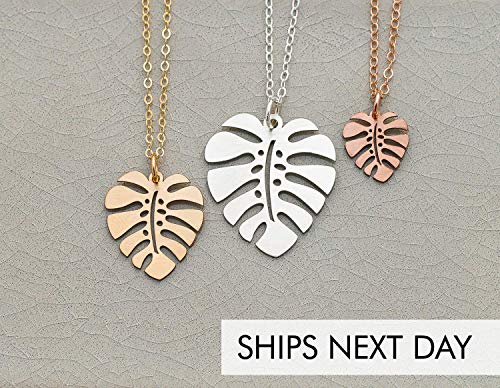 Monstera Leaf Necklace - IBD - Plant Lady Gift Palm Tropical Foliage Jewelry - Fast 1 Day Production - 935 Sterling Silver 14K Rose Gold Filled Charm