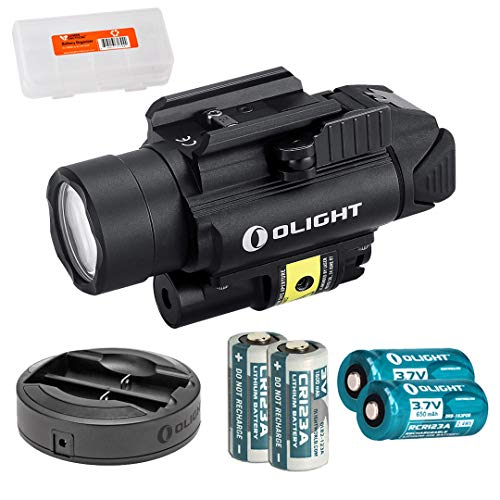 OLIGHT PL-2RL Baldr White LED & Red Laser Handgun Weaponlight with 2X CR123 Batteries, 2X RCR123 Rechargeable Batteries, Omni-Dok II Charger, and LumenTac Battery Organizer