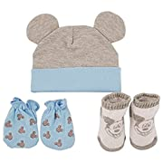 Disney Baby Boys Mickey Mouse Hat, Mitts and Socks Take Me Home Gift Set, Age 0-3M