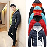 Apparel : Napoo Men Winter Thicken Hooded Zipper Warm Parka Overcoat Outwear Down Jacket