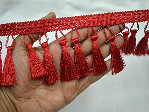 Wholesale 3 Inches Red Tassels Trim Boho Decorative Indian Fringe Trim by 9 Yard Gypsy Bohemian Trim Fringe Ethnic Trim Fringed Ribbon DIY Party Clothes Décor Curtains Table Runners Bedding Curtains -