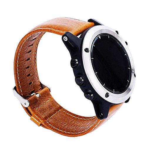 GBSELL New Replacement Soft Leather Watch Band Strap + Tool For Garmin Fenix 3 / HR,Coffee