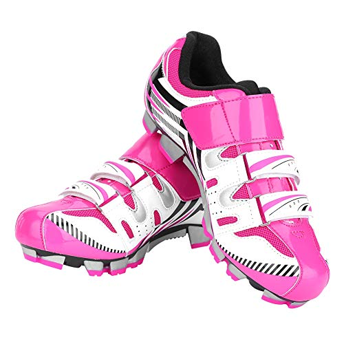 Dilwe Cycling Shoes, 1 Pair Anti-Slip Women Mountain Bike Shoes with Spike and Tool for Outdoor Mountain Biking(38-Pink) (Mountain Bike Shoe Spikes)