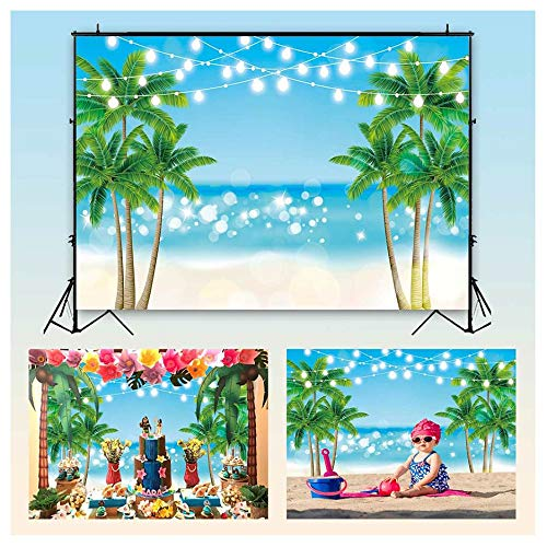 Funnytree 7x5ft Summer Tropical Beach Backdrop Glitter Bokeh Seaside Island Palm Trees Photography Background for Picture Shiny Blue Sea Sky Luau Themed Party Decorations Photo Booth Studio Props -