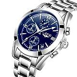 Watches Men Chronograph Men Sports Watches Waterproof Full Steel Silver Blue Quartz Men's Watch