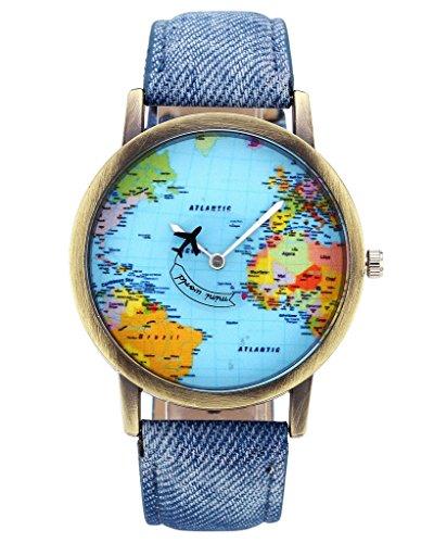 Unisex Watch Quartz Wristwatch World Map Leather Band 1 - 3